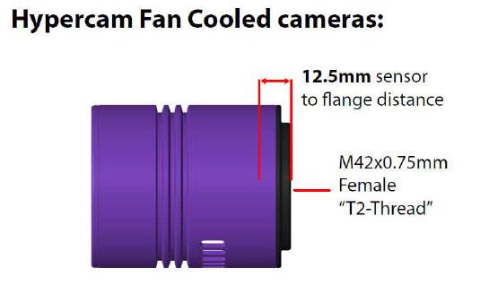 Hypercam Fan Cooled Camera 12.5mm Flange Sensor Spacing Backfocus