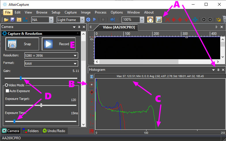 Set exposure and gain in AltairCapture with Histogram